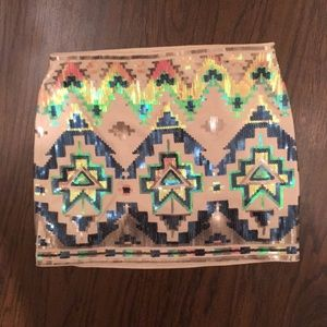 NWT Express sequin print mini skirt